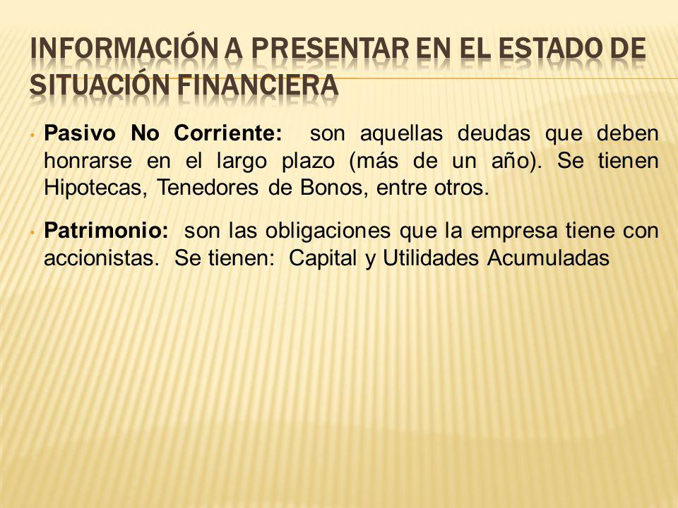 Información a presentar en el estado de situación financiera