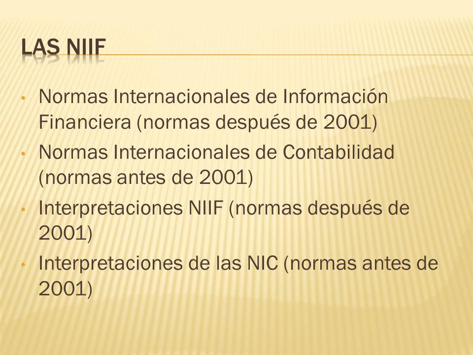 LAS NIIF Normas Internacionales de Información Financiera (normas después de 2001) Normas Internacionales de Contabilidad (normas antes de 2001)