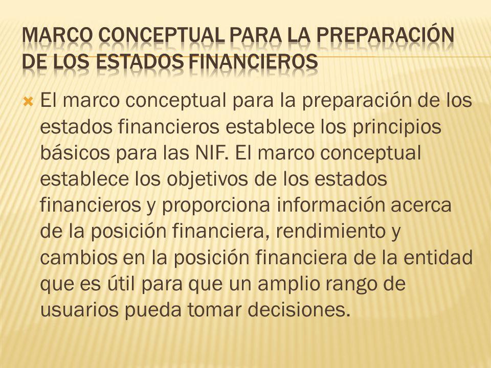 marco conceptual para la preparación de los estados financieros