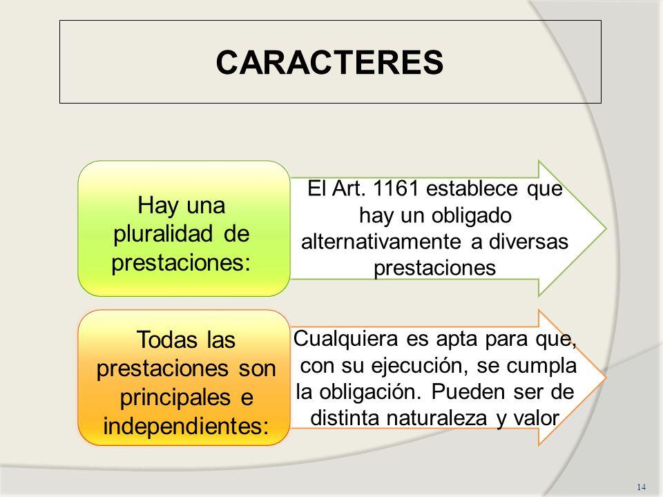 CARACTERES Hay una pluralidad de prestaciones: