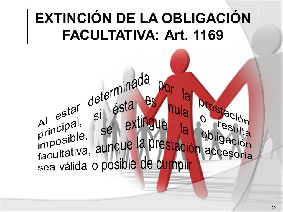 EXTINCIÓN DE LA OBLIGACIÓN FACULTATIVA: Art. 1169