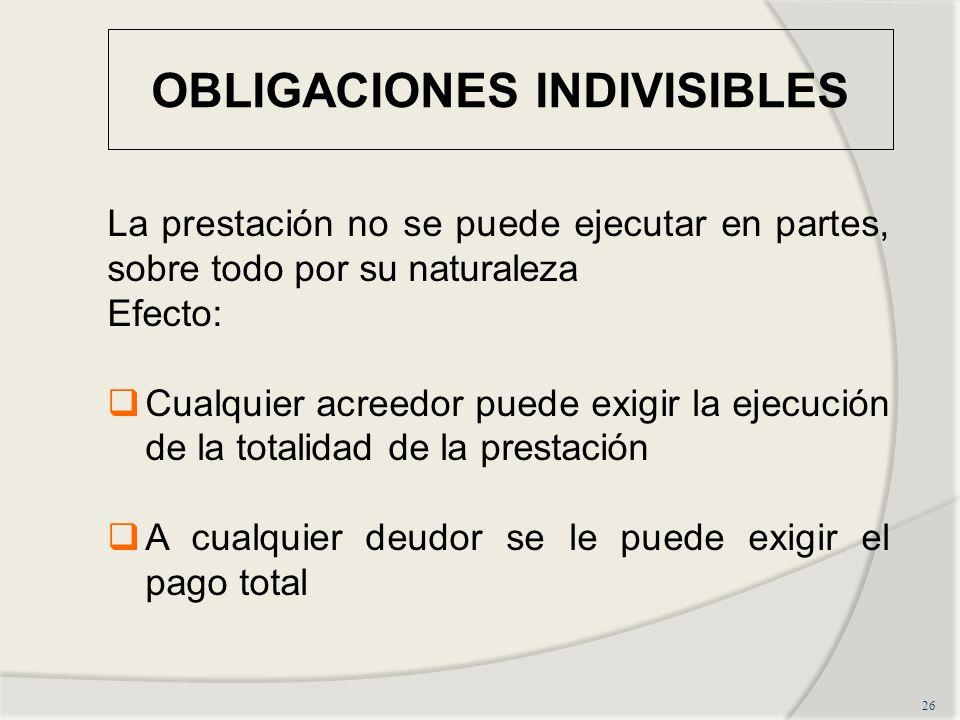 OBLIGACIONES INDIVISIBLES