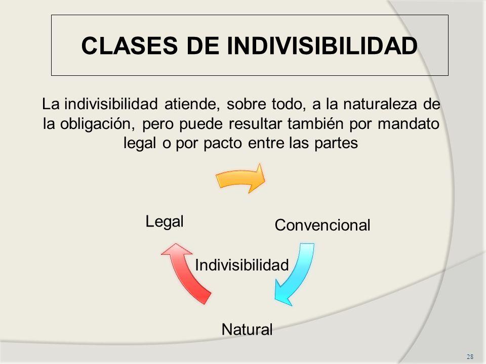 CLASES DE INDIVISIBILIDAD