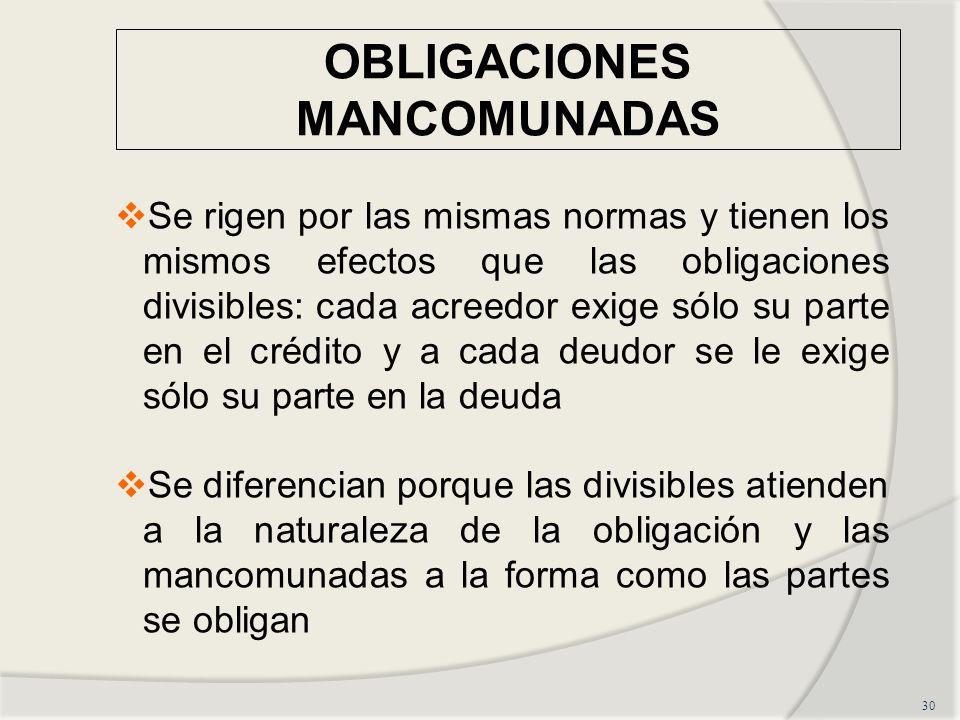 OBLIGACIONES MANCOMUNADAS