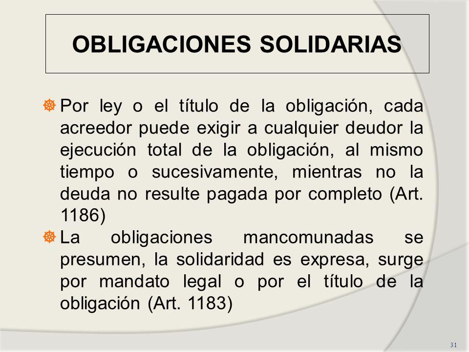 OBLIGACIONES SOLIDARIAS