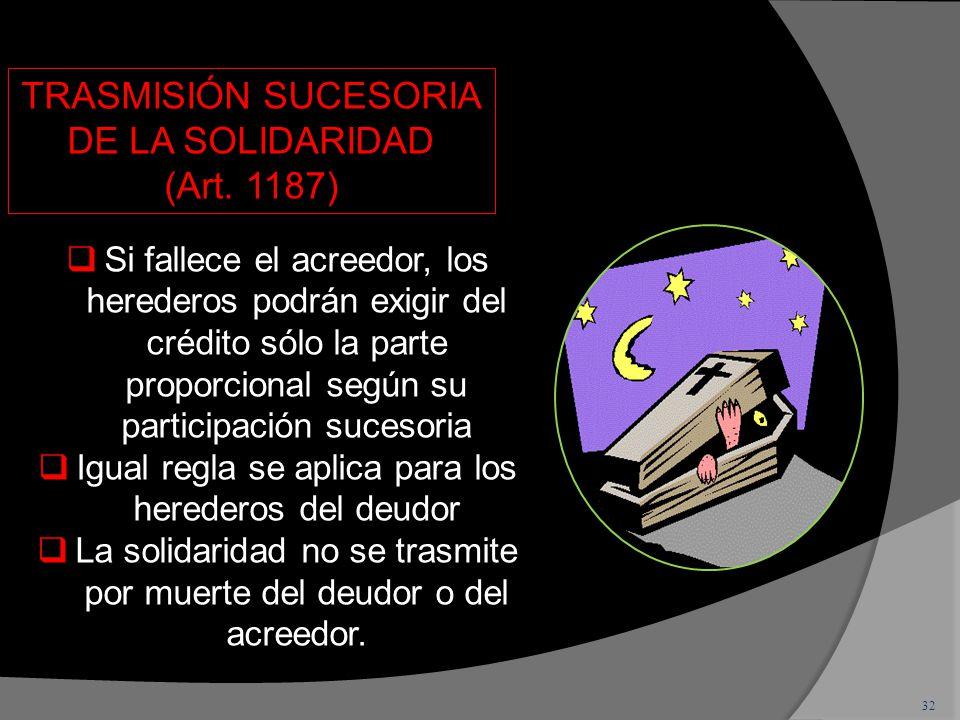 TRASMISIÓN SUCESORIA DE LA SOLIDARIDAD (Art. 1187)