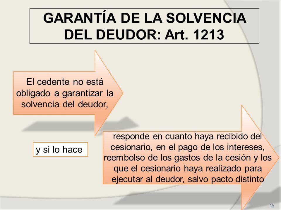 GARANTÍA DE LA SOLVENCIA DEL DEUDOR: Art. 1213