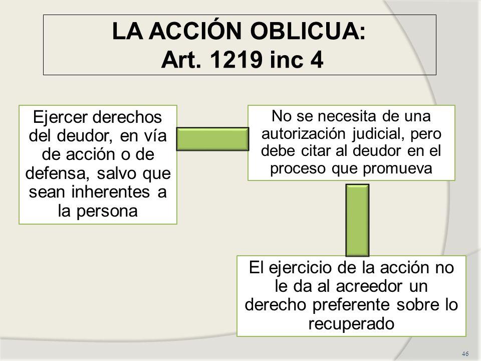 LA ACCIÓN OBLICUA: Art. 1219 inc 4