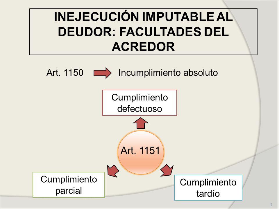 INEJECUCIÓN IMPUTABLE AL DEUDOR: FACULTADES DEL ACREDOR