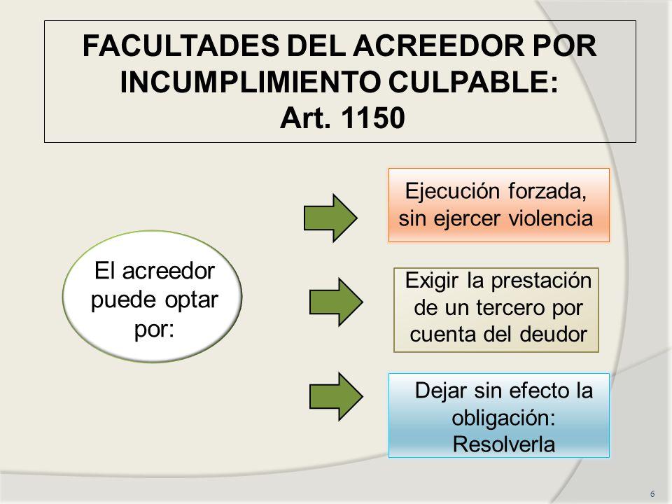 FACULTADES DEL ACREEDOR POR INCUMPLIMIENTO CULPABLE: Art. 1150
