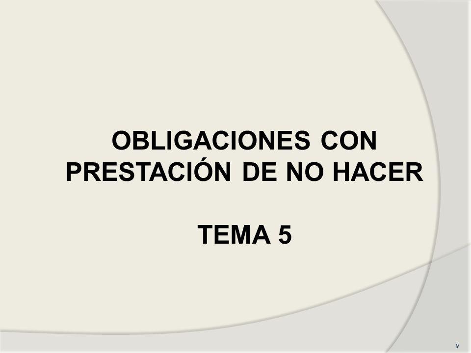 OBLIGACIONES CON PRESTACIÓN DE NO HACER