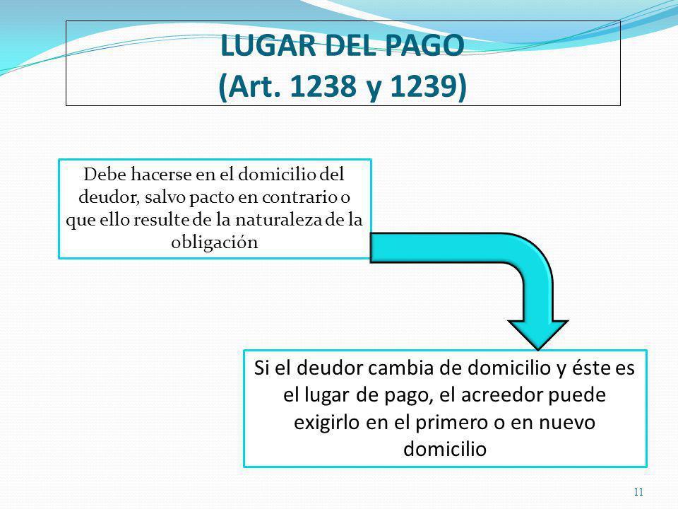 LUGAR DEL PAGO (Art. 1238 y 1239)