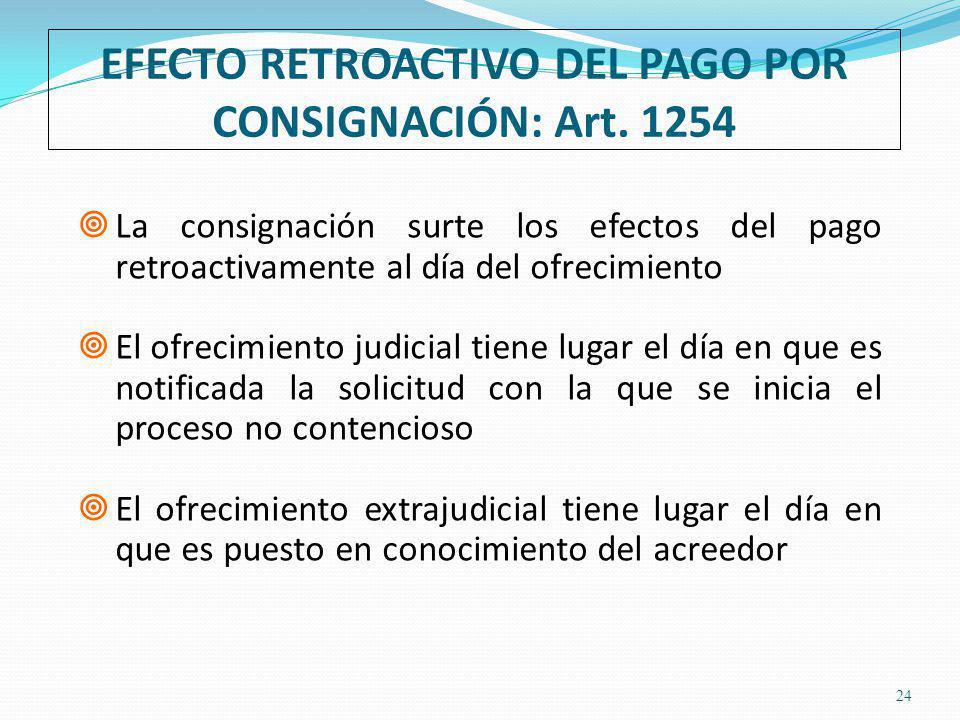 EFECTO RETROACTIVO DEL PAGO POR CONSIGNACIÓN: Art. 1254