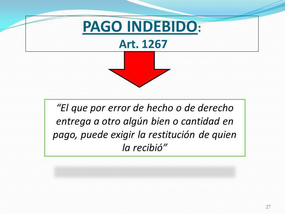 PAGO INDEBIDO: Art. 1267