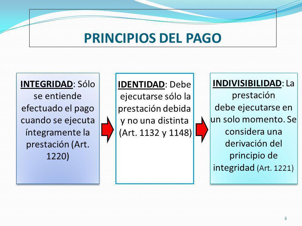 PRINCIPIOS DEL PAGO INTEGRIDAD: Sólo se entiende efectuado el pago cuando se ejecuta íntegramente la prestación (Art. 1220)
