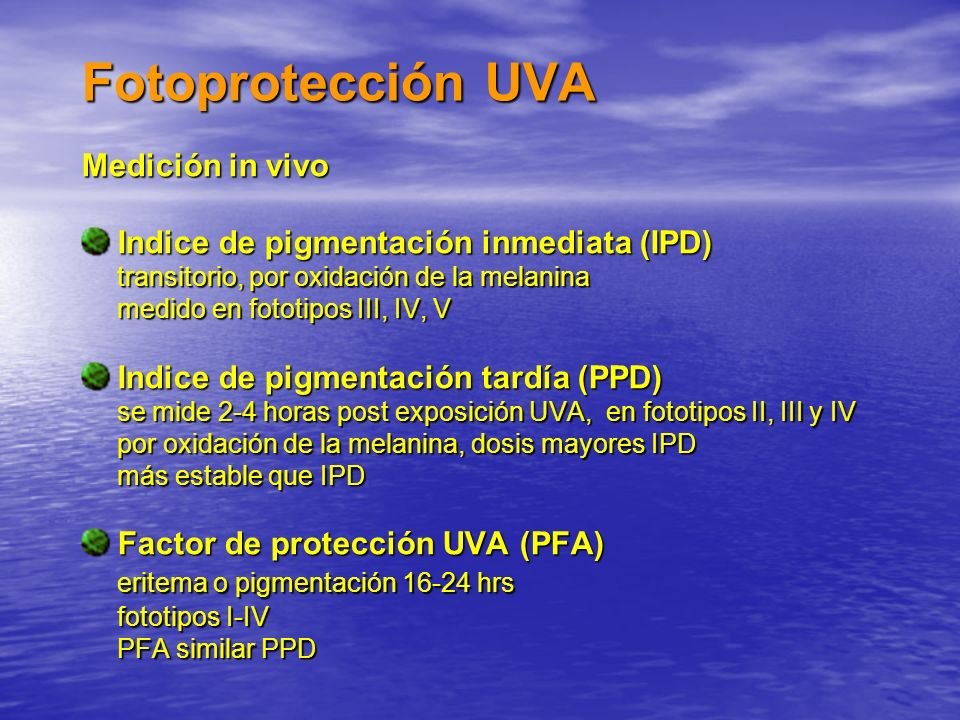 Fotoprotección UVA Medición in vivo