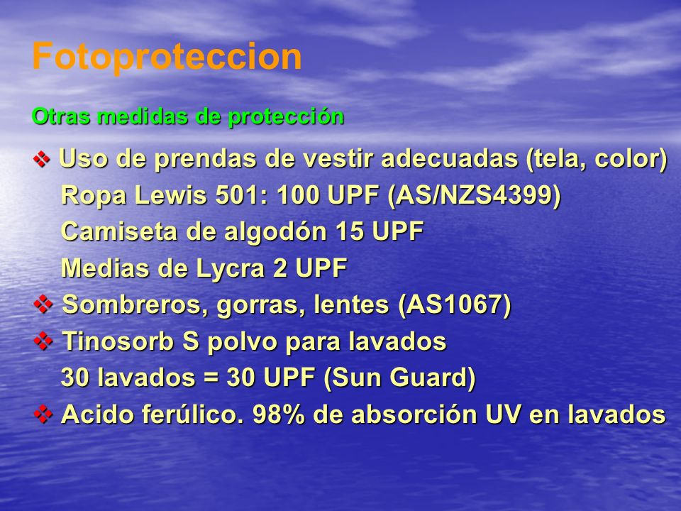 Fotoproteccion Ropa Lewis 501: 100 UPF (AS/NZS4399)