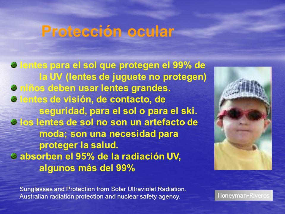 Protección ocularlentes para el sol que protegen el 99% de la UV (lentes de juguete no protegen) niños deben usar lentes grandes.