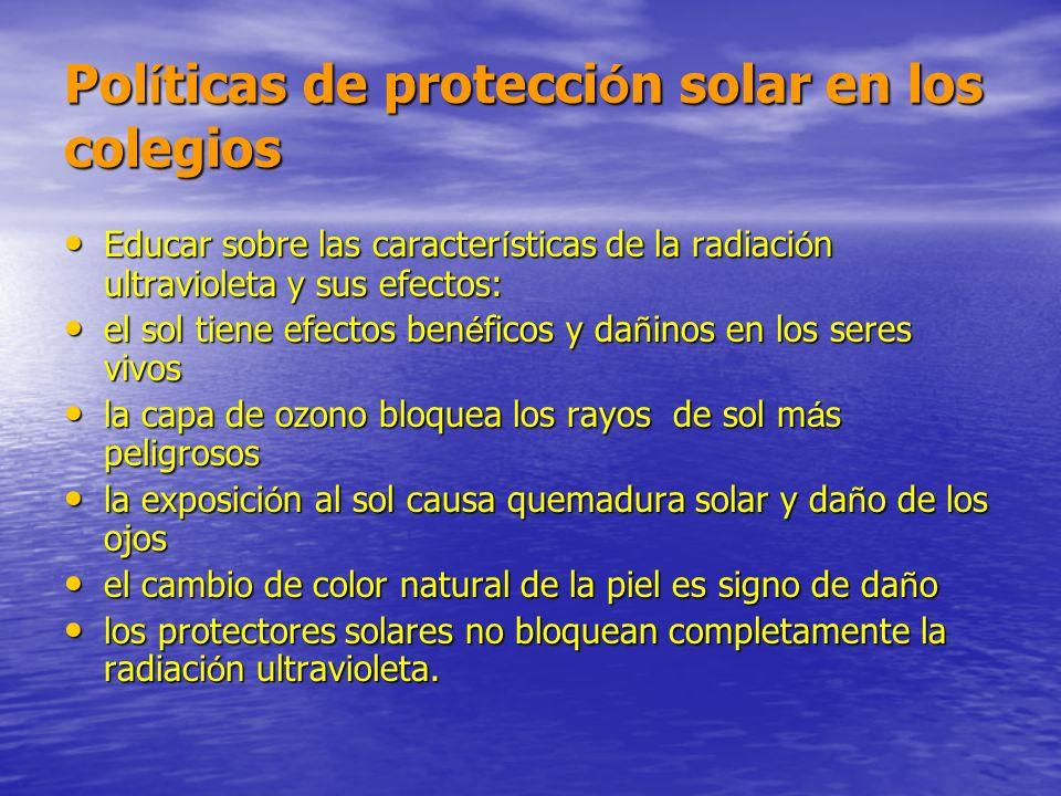 Políticas de protección solar en los colegios