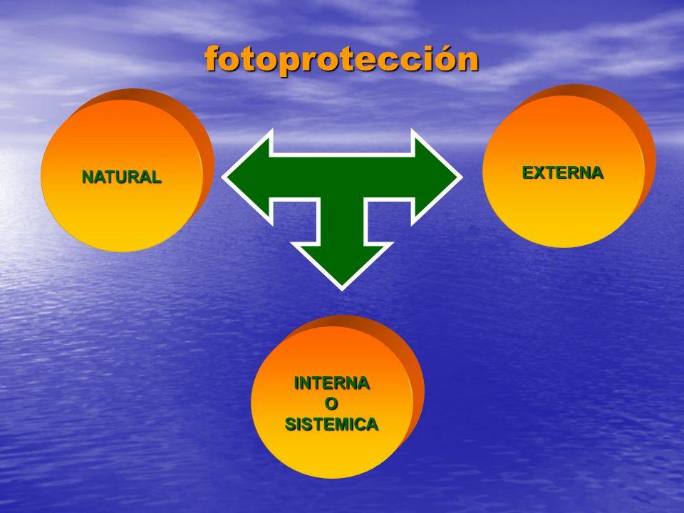 fotoprotección EXTERNA NATURAL INTERNA O SISTEMICA