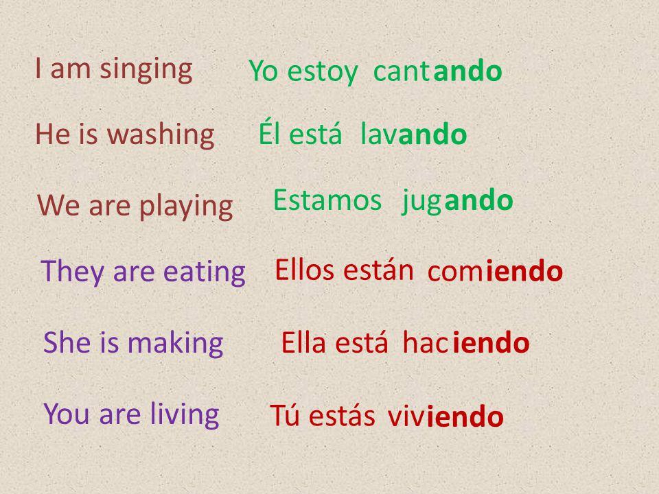 I am singing Yo estoy. cant. ando. He is washing. Él está. lav. ando. Estamos. jug. ando. We are playing.