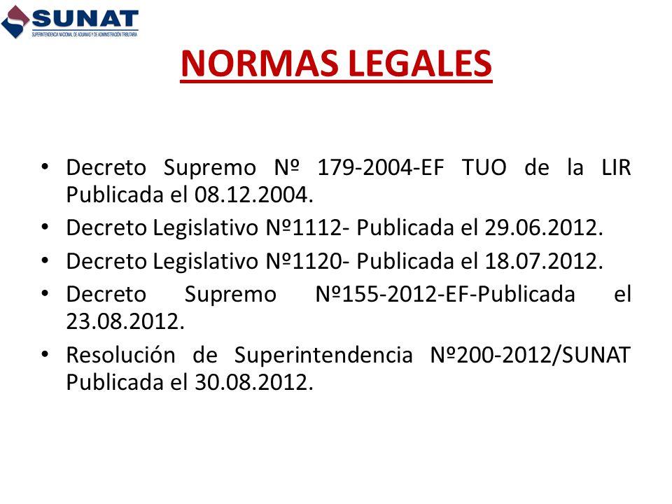 NORMAS LEGALES Decreto Supremo Nº 179-2004-EF TUO de la LIR Publicada el 08.12.2004. Decreto Legislativo Nº1112- Publicada el 29.06.2012.