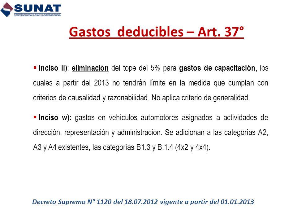 Gastos deducibles – Art. 37°
