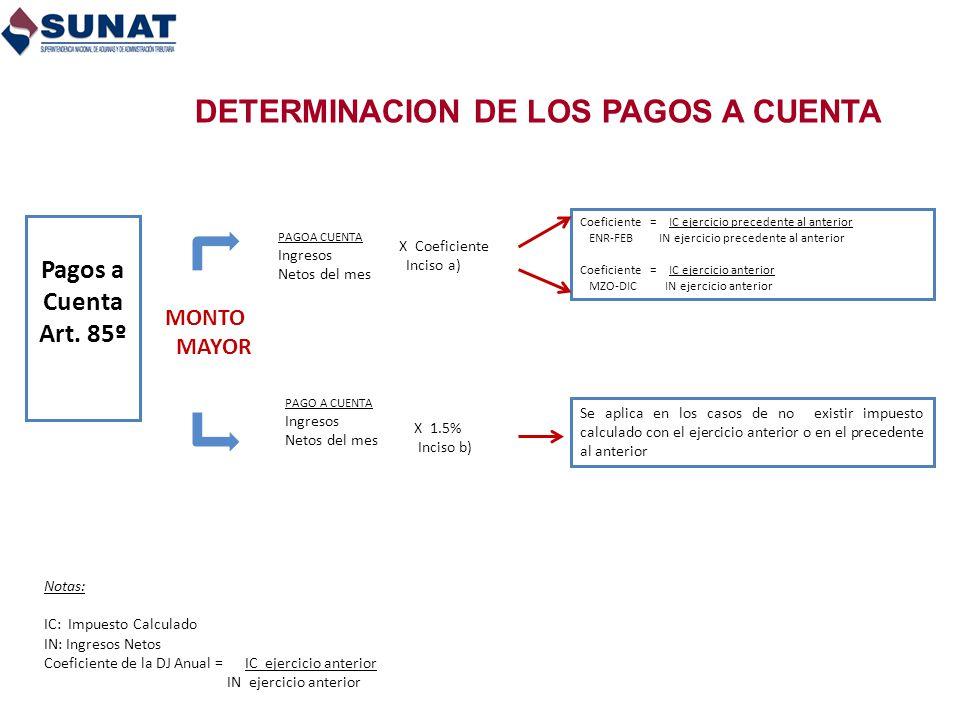 DETERMINACION DE LOS PAGOS A CUENTA