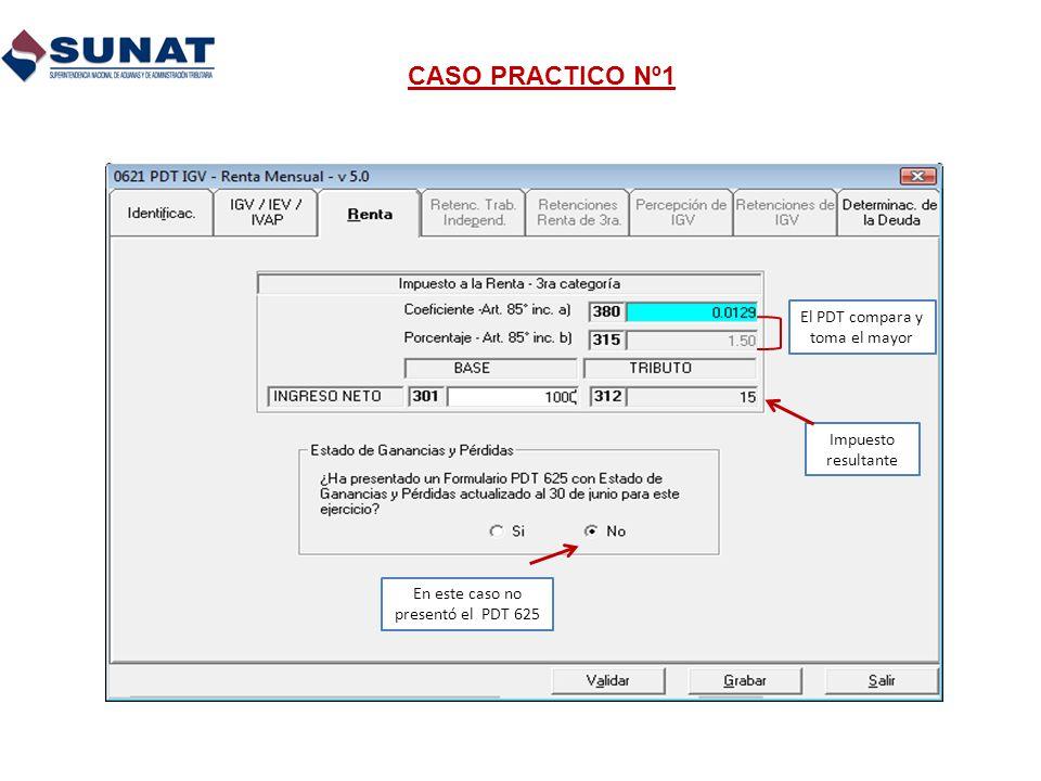 CASO PRACTICO Nº1 El PDT compara y toma el mayor Impuesto resultante