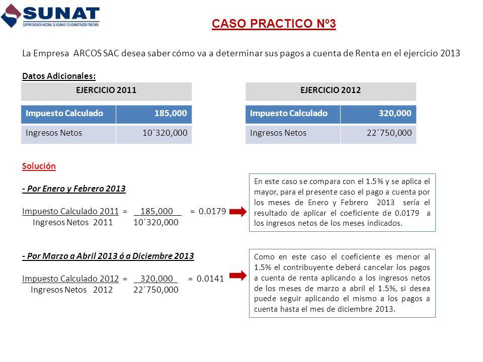 CASO PRACTICO Nº3 La Empresa ARCOS SAC desea saber cómo va a determinar sus pagos a cuenta de Renta en el ejercicio 2013.