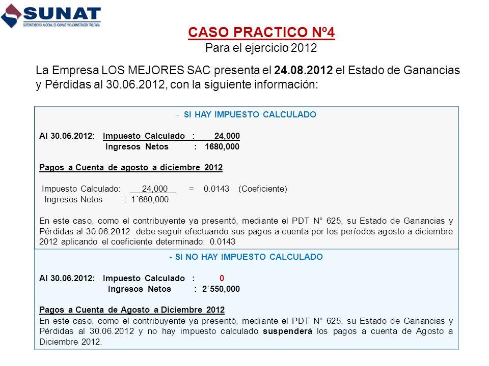 CASO PRACTICO Nº4 Para el ejercicio 2012