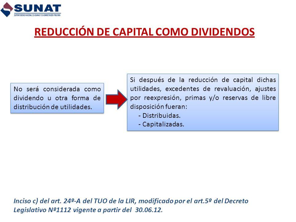REDUCCIÓN DE CAPITAL COMO DIVIDENDOS