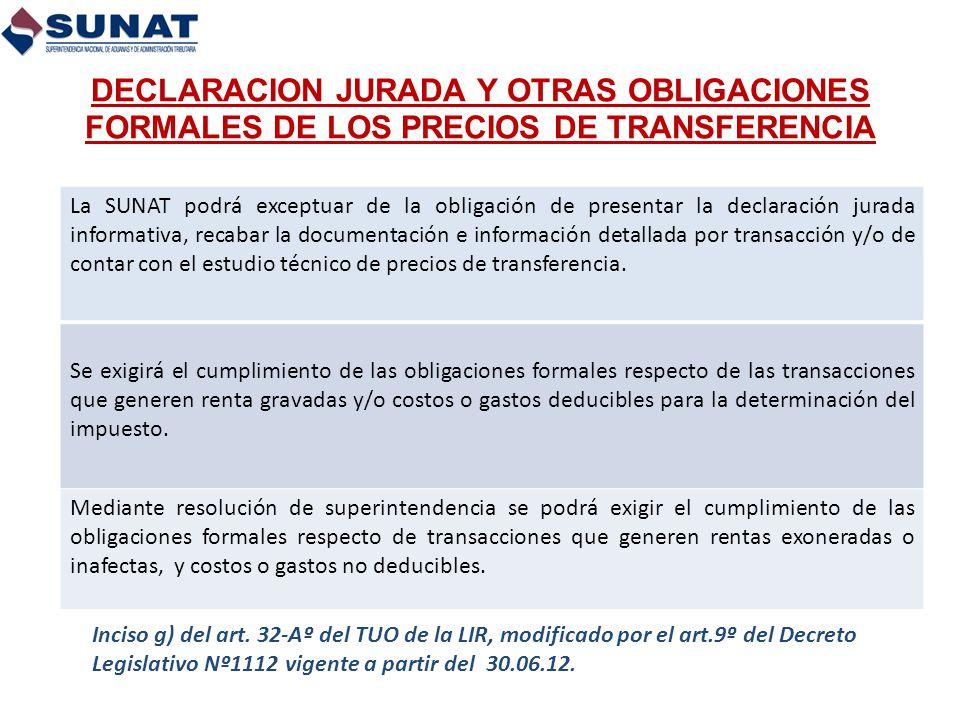 DECLARACION JURADA Y OTRAS OBLIGACIONES FORMALES DE LOS PRECIOS DE TRANSFERENCIA