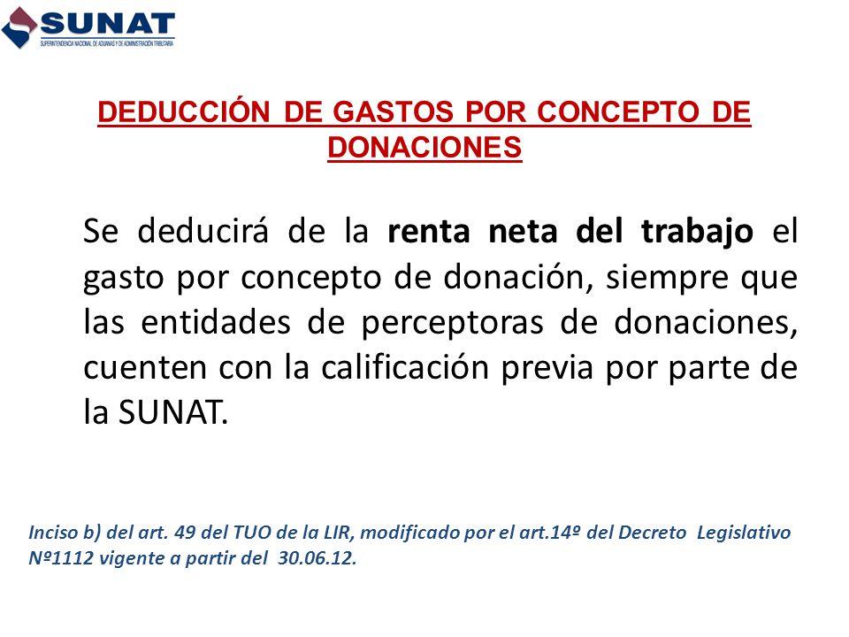 DEDUCCIÓN DE GASTOS POR CONCEPTO DE DONACIONES