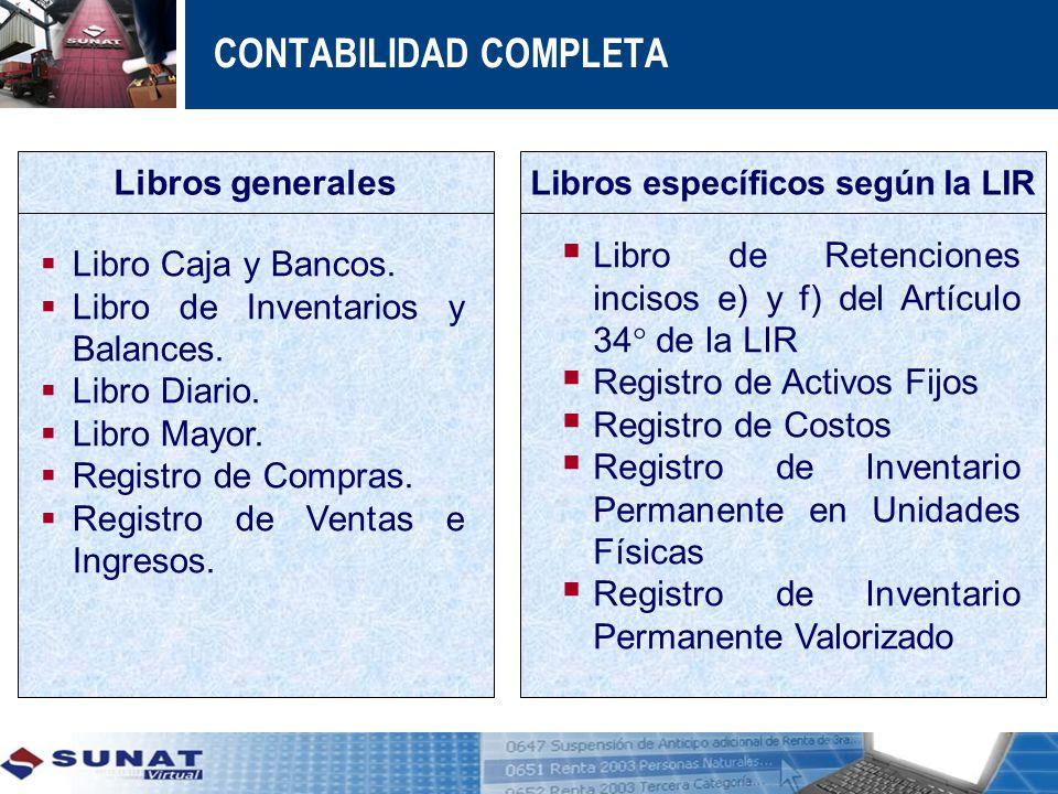 Libros específicos según la LIR