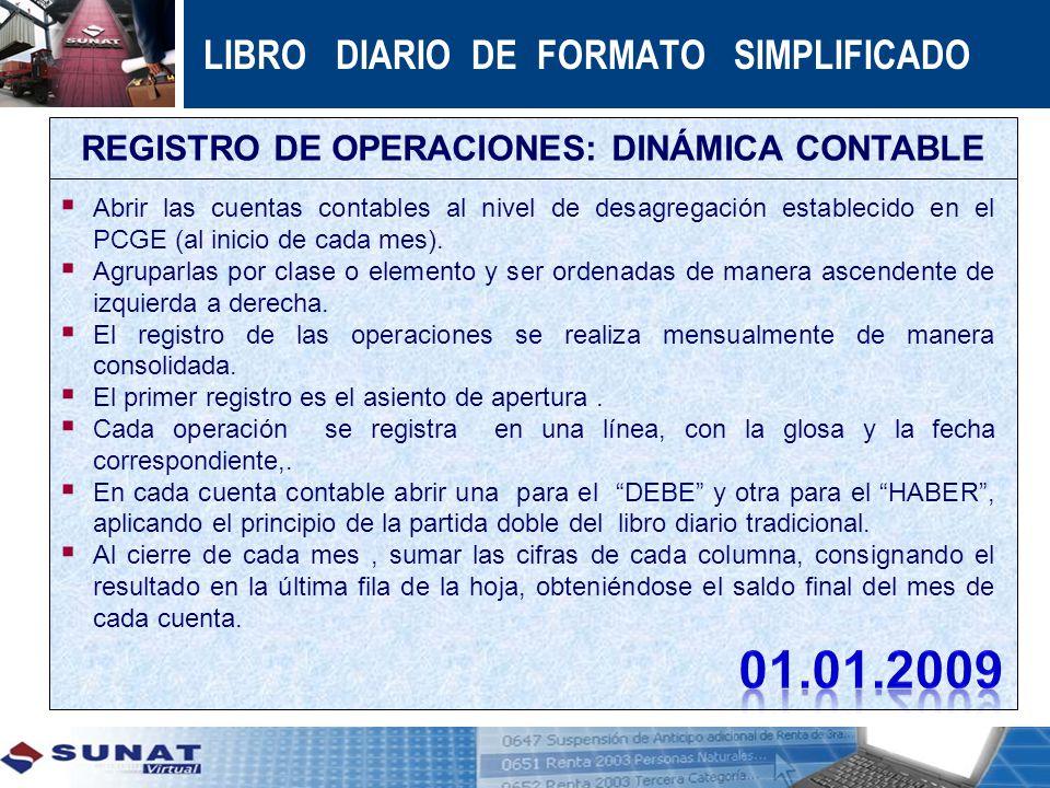 REGISTRO DE OPERACIONES: DINÁMICA CONTABLE