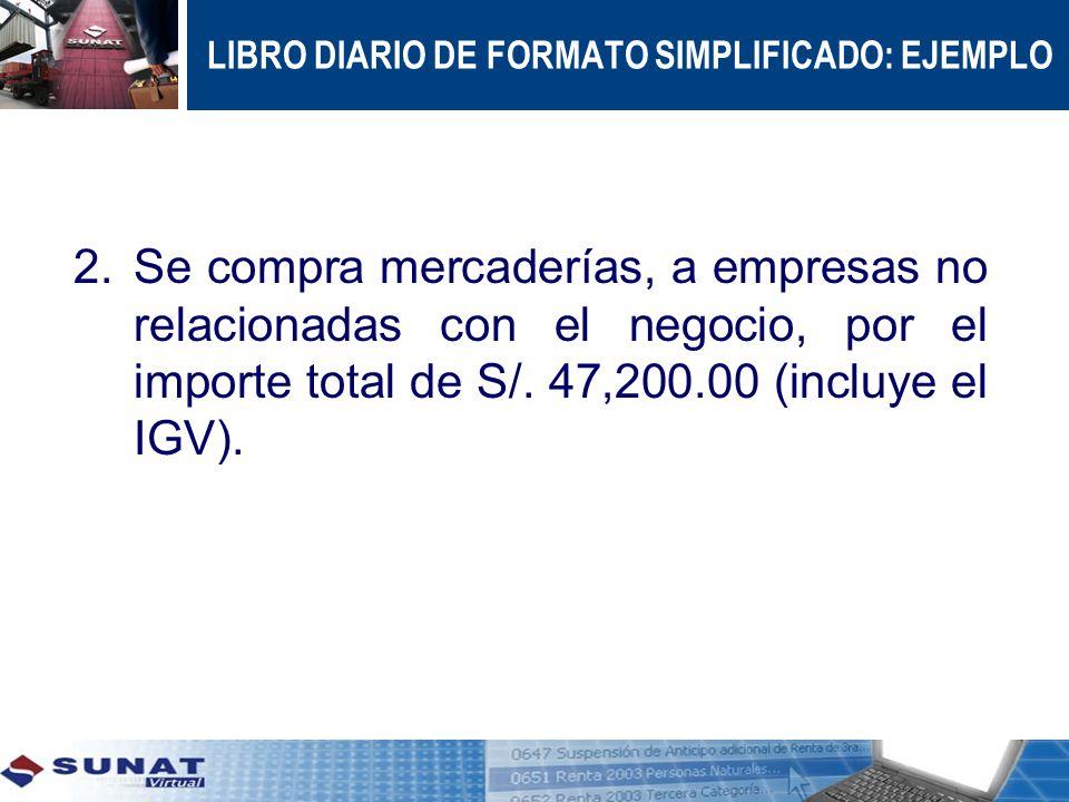 LIBRO DIARIO DE FORMATO SIMPLIFICADO: EJEMPLO