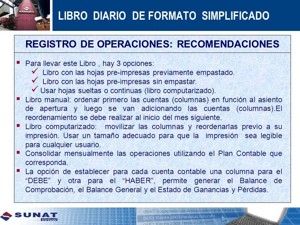 REGISTRO DE OPERACIONES: RECOMENDACIONES