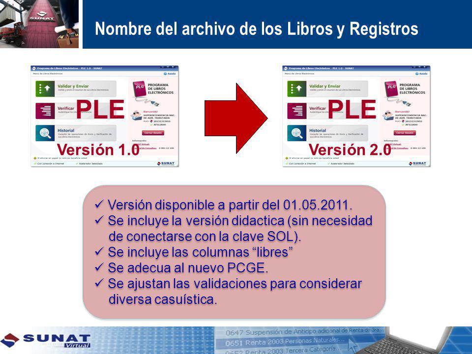 PLE PLE Nombre del archivo de los Libros y Registros Versión 1.0