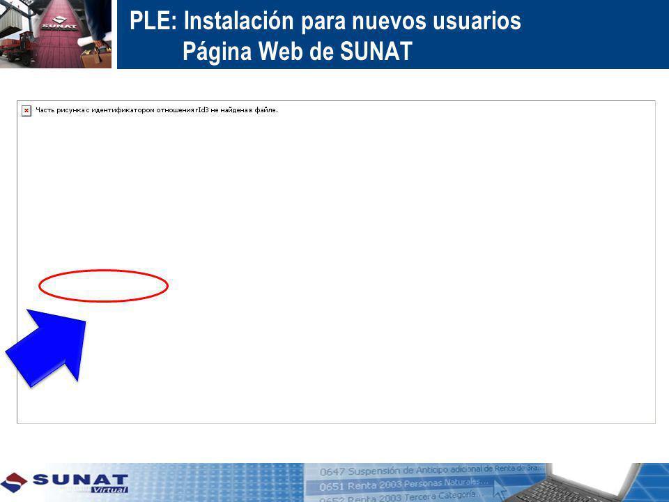 PLE: Instalación para nuevos usuarios Página Web de SUNAT
