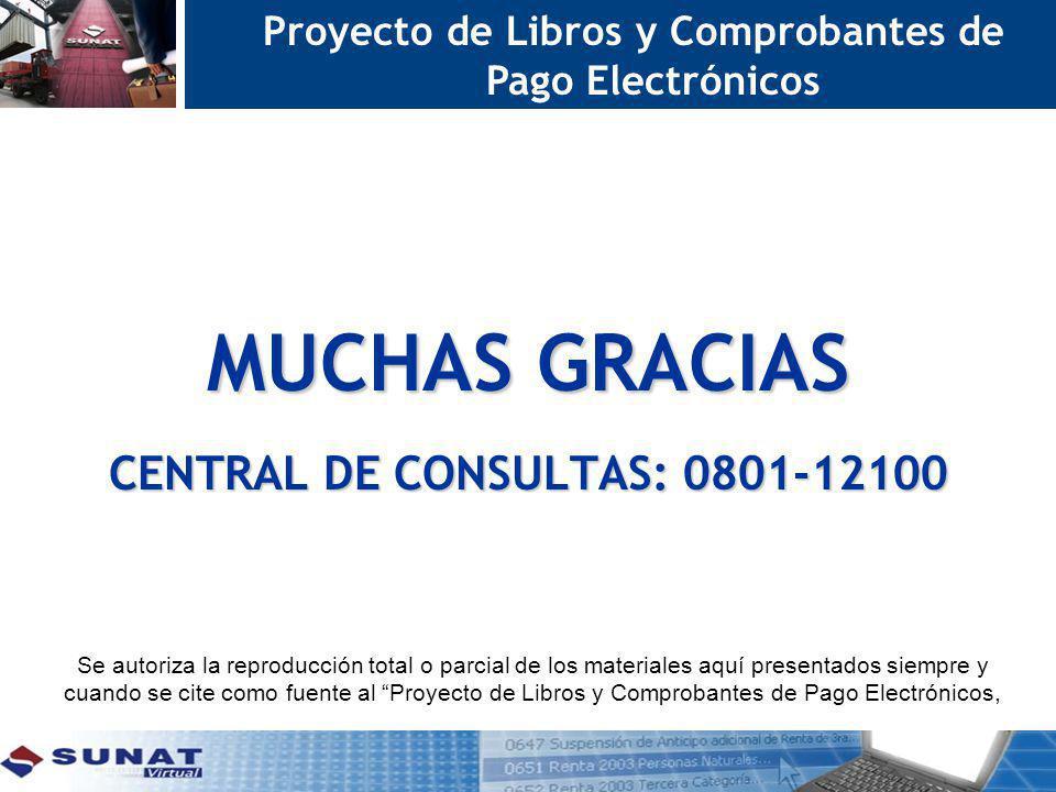 MUCHAS GRACIAS CENTRAL DE CONSULTAS: 0801-12100