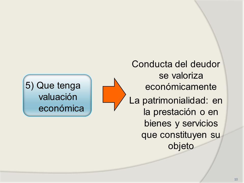 Conducta del deudor se valoriza económicamente La patrimonialidad: en la prestación o en bienes y servicios que constituyen su objeto