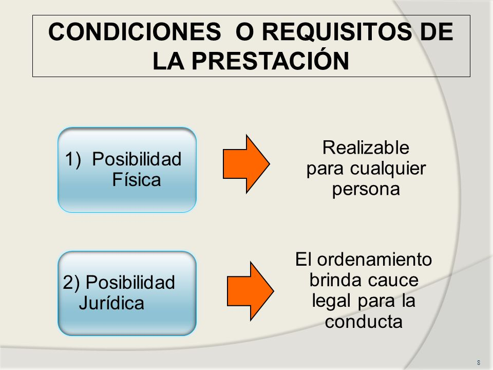CONDICIONES O REQUISITOS DE LA PRESTACIÓN