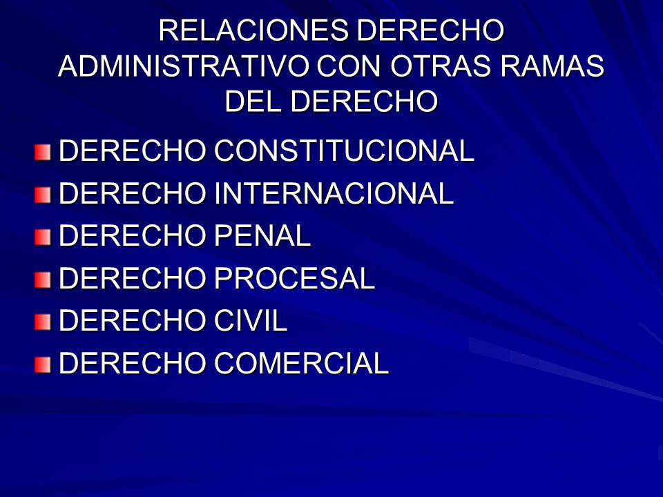 RELACIONES DERECHO ADMINISTRATIVO CON OTRAS RAMAS DEL DERECHO