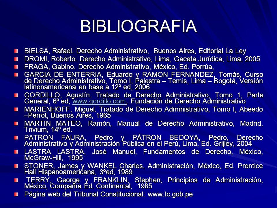 BIBLIOGRAFIA BIELSA, Rafael. Derecho Administrativo, Buenos Aires, Editorial La Ley.