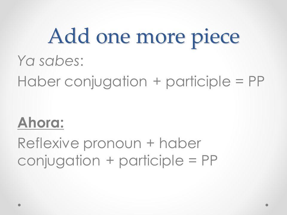 Add one more piece Ya sabes: Haber conjugation + participle = PP Ahora: Reflexive pronoun + haber conjugation + participle = PP