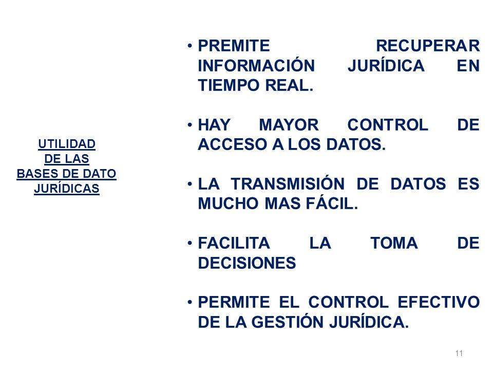 PREMITE RECUPERAR INFORMACIÓN JURÍDICA EN TIEMPO REAL.