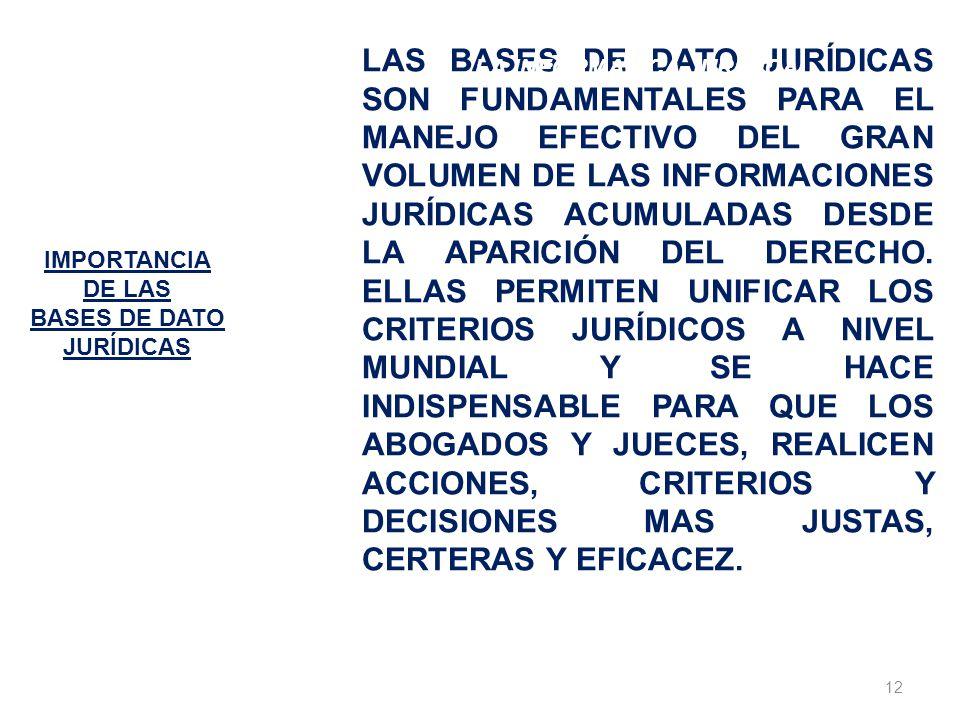 IMPORTANCIA DE LAS. BASES DE DATO. JURÍDICAS.