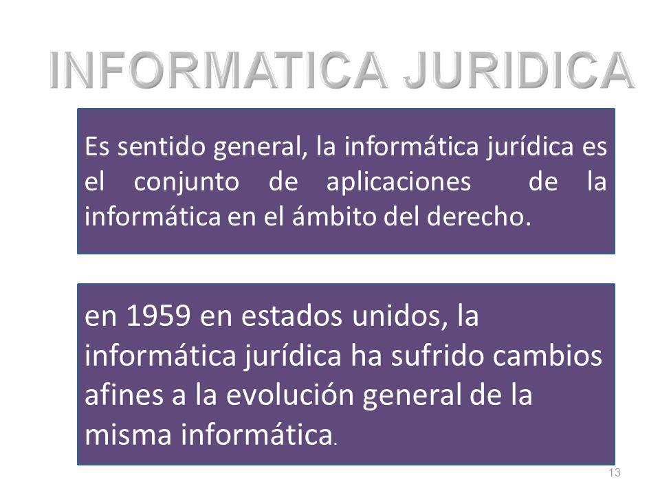 INFORMATICA JURIDICA Es sentido general, la informática jurídica es el conjunto de aplicaciones de la informática en el ámbito del derecho.