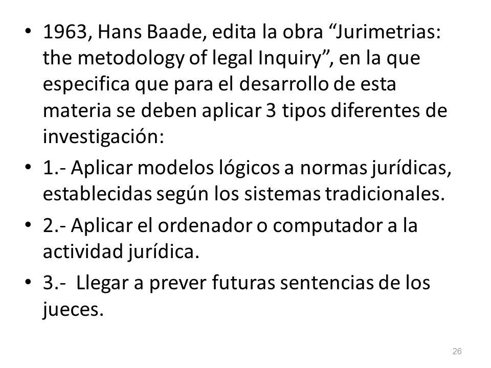 1963, Hans Baade, edita la obra Jurimetrias: the metodology of legal Inquiry , en la que especifica que para el desarrollo de esta materia se deben aplicar 3 tipos diferentes de investigación: